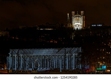 LYON, FRANCE, December 9, 2018 : Quai de Saone during Festival of lights. For 4 nights, different artists light up buildings, streets mixing splendor of the monuments and artistic creations.
