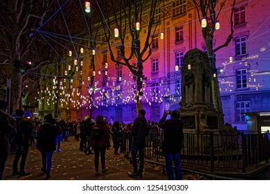 LYON, FRANCE, December 9, 2018 : Streets during Festival of lights. For 4 nights, different artists light up buildings, streets mixing splendor of the monuments and artistic creations.