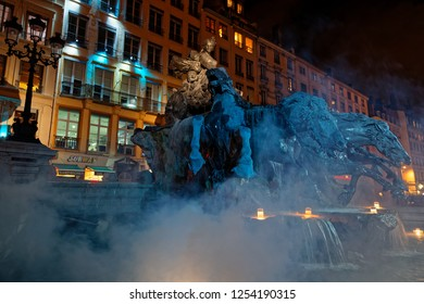 LYON, FRANCE, December 9, 2018 : Place des Terreaux during Festival of lights. For 4 nights, different artists light up buildings, streets mixing splendor of the monuments and artistic creations.