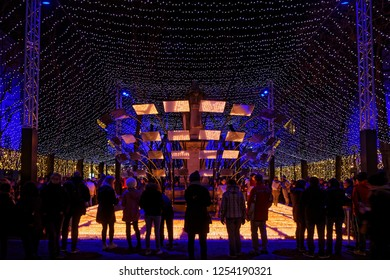 LYON, FRANCE, December 9, 2018 : Lumignons du coeur during Festival of Lights. Funds from sales of the candles go to a different charity each year