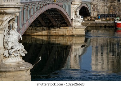 LYON, FRANCE, February 20, 2019 : Lafayette Bridge rests on two piles of white stone, richly decorated with 4 statues of great figures depicting the Saone and the Rhone.