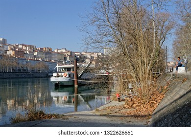 LYON, FRANCE, February 20, 2019 : Furnished by the Grand Lyon, the left banks of the Rhone are organized in two parallel ribbons: one dedicated to soft modes, the other for walking.