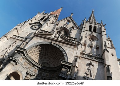 LYON, FRANCE, February 23, 2019 : Saint-Nizier Church, located in the heart of the Presque ile, is one of the oldest churches in Lyon