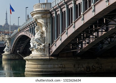 LYON, FRANCE, February 24, 2019 : Lafayette Bridge rests on two piles of white stone, richly decorated with 4 statues of great figures depicting the Saone and the Rhone.