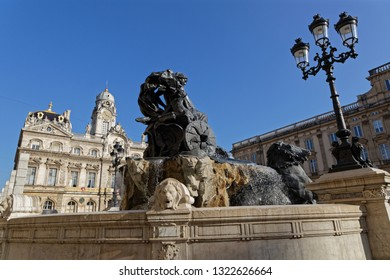 LYON, FRANCE, February 24, 2019 : Fountain Bartholdi, on Place des Terreaux, after its restoration. The fountain depicts France seated on a chariot controlling the four great rivers of France.