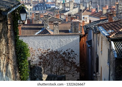 LYON, FRANCE, February 24, 2019 : Old streets and roofs of Lyon city center are classified on the World Heritage list.