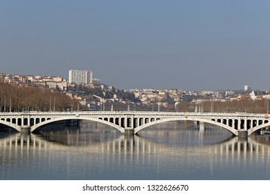 LYON, FRANCE, February 24, 2019 : Wilson bridge is a beautiful bridge and the strongest in Lyon. It is made of masonry, siding in Comblanchien of the quarries of Gevrey-Chambertin