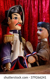 LYON, FRANCE, February 6, 2016 : Guignol Theater. 200 years after creation, original spirit of the puppet show still survives in his hometown of Lyon, where performances are part of local culture.