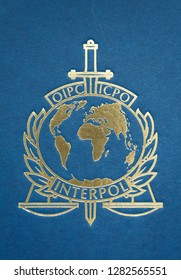 LYON- FRANCE, januari 12, 2019: Interpol, international criminal police organization, logo on an official Interpol file.