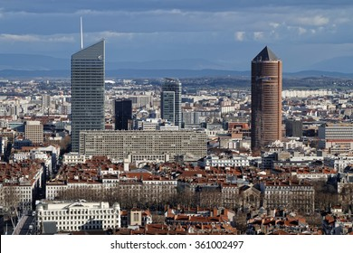 LYON, FRANCE, January 11, 2016 : New business district of La Part-Dieu, and its towers, from Fourviere hill. The hill is the site of the original Roman settlement of Lugdunum.