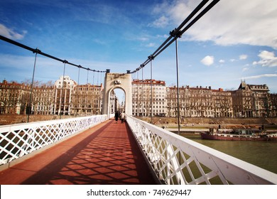LYON, FRANCE - January 2015: Bridge across river Rhone on winter sunny day, Lyon, France