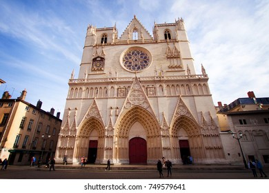 LYON, FRANCE - January 2015: Cathedral of Lyon, Gothic architecture in Lyon city, France