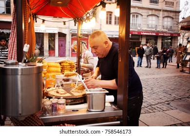 LYON, FRANCE - January 2015: Street food stall at Lyon city, France