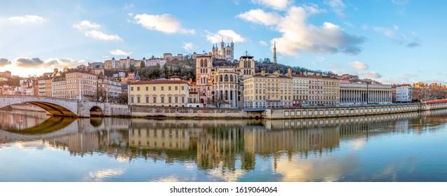 Lyon, France - January, 2020 : Cathedral Saint Jean and Basilica Notre-Dame de Fourviere, iconic symbols and main landmarks of Lyon, region Auvergne-Rhone-Alpes, Rhone, France