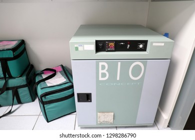 LYON, FRANCE January 26 2019:   in a medical analysis laboratory, the thermal cycler and the transport coolers