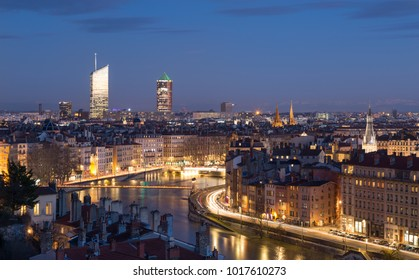 LYON, FRANCE - January 31, 2018: twilight view over the Saone river in the city of Lyon, France.