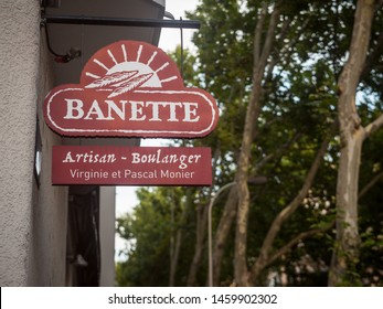LYON, FRANCE - JULY 17, 2019: Banette logo in front of a bakery (boulangerie) of the group. Banette is a group of French millers promoting traditional French breads such as baguette