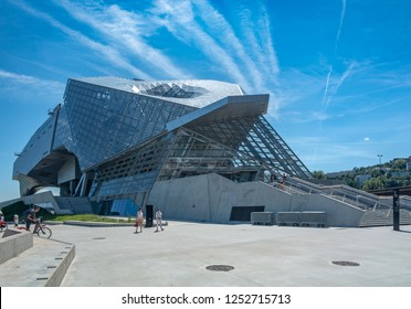 Lyon, France - July 18, 2018: The Musee des Confluences is a science centre and anthropology museum, located at the confluence of the Rhone and the Saone rivers in Lyon.