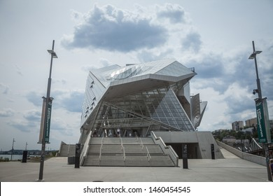 LYON, FRANCE - JULY 18, 2019: Musee des Confluences museum during a cloudy afternoon. It is a newly open science center and anthropology museum, a landmark of the city of Lyon