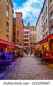 LYON, FRANCE, JULY 22, 2017: People are strolling through the old town of lyon during sunset, France