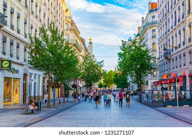 LYON, FRANCE, JULY 23, 2017: People are strolling through rue de la republique in the historical center of Lyon, France