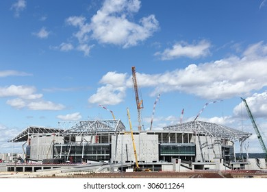 Lyon, France - July 27, 2015: Construction of the grand stade in Lyon, France The Stade des Lumieres is 60 000 seat stadium that the french football club Olympique Lyonnais is building near Decines.