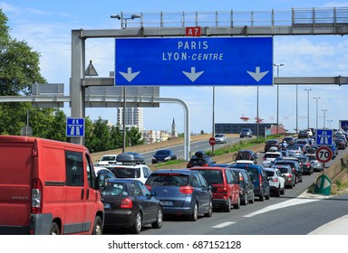 LYON, FRANCE - JULY 29, 2017: A7, autoroute du soleil, in Lyon during black satureday with light traffic.