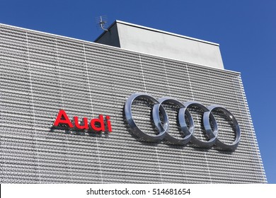 Lyon, France - July 3, 2016: Audi building. Audi is a German automobile manufacturer that designs, engineers, produces, markets and distributes luxury vehicles
