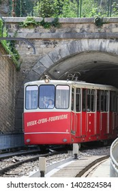 Lyon, France - July 31, 2014: Historic funicular in lyon with the line F2 Saint-Jean - Fourviere
