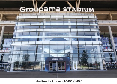 Lyon, France - June 13, 2019: Entrance of the Groupama stadium in Lyon. The Groupama stadium is a 60000 seat stadium for French football club Olympique Lyonnais