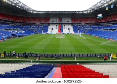 LYON, FRANCE - JUNE 15, 2016: Panoramic view of Stade de Lyon (Parc Olympique Lyonnais) during Training session of Ukraine National Football Team before UEFA EURO 2016 game against N.Ireland