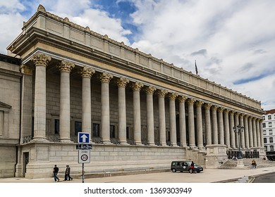 LYON, FRANCE - JUNE 16, 2016: Lyon Palais de Justice (1835 - 1845) with Neoclassical Corinthian columns. Palais de Justice de Lyon is often called the 'Palace of twenty-four columns'.
