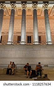 """LYON, FRANCE, June 21, 2018 : Musicians and Palais de Justice. With free demonstrations through all the city from June to September, """"Fetons l'été"""" (Let us celebrate the summer) liven up the summer"""