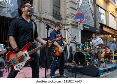 """LYON, FRANCE, June 21, 2018 : Street rock musicians. With free demonstrations through all the city from June to September, """"Fetons l'été"""" (Let us celebrate the summer) liven up the summer period."""