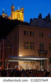 """LYON, FRANCE, June 21, 2018 : Show under Fourviere. With free demonstrations through all the city from June to September, """"Fetons l'été"""" (Let us celebrate the summer) liven up the summer period."""