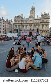 """LYON, FRANCE, June 21, 2018 : Waiting for the show on Place des Terreaux. With free demonstrations from June to September, """"Fetons l'été"""" (Let us celebrate the summer) liven up the summer period."""
