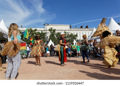 LYON, FRANCE, June 23, 2018 : Dances from Gabonese. The Fetes Consulaires stand on Place Bellecour around animations, traditional songs, dances, exhibitions prepared by more than 50 consulates.