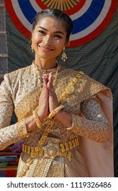 LYON, FRANCE, June 23, 2018 : Smile from Thailand. The Fetes Consulaires stand on Place Bellecour around animations, traditional songs, dances, exhibitions prepared by more than 50 consulates.