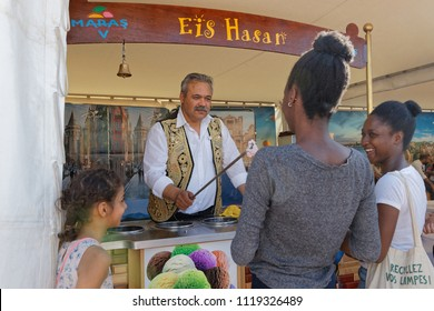 LYON, FRANCE, June 23, 2018 : Ice cream from Turkey. The Fetes Consulaires stand on Place Bellecour around animations, traditional songs, dances, exhibitions prepared by more than 50 consulates.