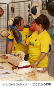 LYON, FRANCE, June 23, 2018 : Hats from Ecuador. The Fetes Consulaires stand on Place Bellecour around animations, traditional songs, dances, exhibitions prepared by more than 50 consulates.