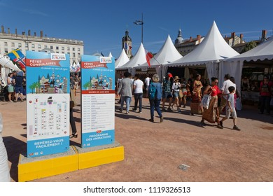 LYON, FRANCE, June 23, 2018 : The Fetes Consulaires stand on Place Bellecour around animations, traditional songs, dances, exhibitions prepared by more than 50 consulates.