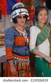 LYON, FRANCE, June 23, 2018 : Women from Laos. The Fetes Consulaires stand on Place Bellecour around animations, traditional songs, dances, exhibitions prepared by more than 50 consulates.
