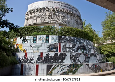 Lyon, France - June 5, 2012: Monument to the brothers Lumiere Cinema inventors