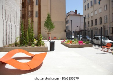 Lyon, France - June 5, 2012:  Public court-yard in Lyon, France