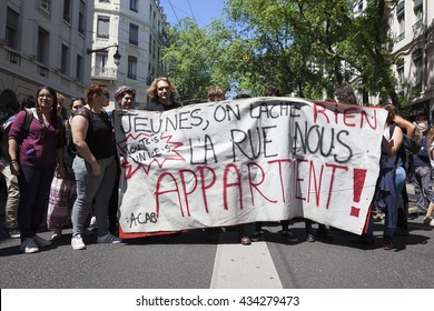 Lyon, France - JUNE 9, 2016 : Thousands of protesters march during a demonstration against the French government and planned labor law reforms