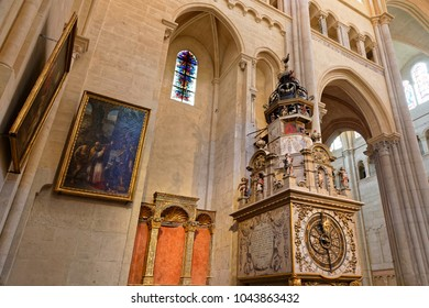 LYON, FRANCE, March 11, 2018 : Lyon astronomical clock. Built in 1379, the tall clock sits in the cathedral of Lyon and indicates the date and position of the moon, sun, and earth, as well as the star