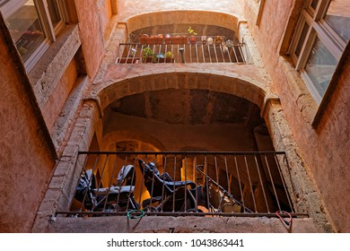 LYON, FRANCE, March 11, 2018 : La Grande Traboule. Traboules are a type of passageway in the city of Lyon where they were used by silk manufacturers and other merchants.