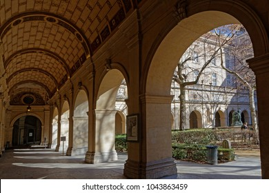LYON, FRANCE, March 11, 2018 : Gardens of the Museum of Fine Arts of Lyon (in French, Musee des beaux-arts de Lyon), near the Place des Terreaux.