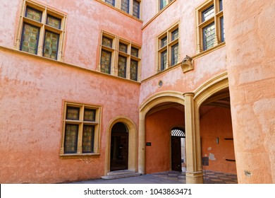 LYON, FRANCE, March 11, 2018 : Renaissance Architecture of the outsides of Gadagne Museum.