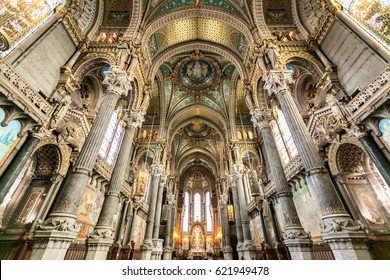LYON, FRANCE, MARCH 15, 2016 :Interiors in Notre Dame de Fourviere basilica on 15 Dec 2015, paintings and details of Notre Dame de Fourviere basilica, Lyon, France